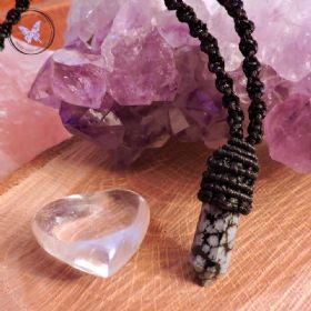 Snowflake Obsidian Point Macrame Necklace